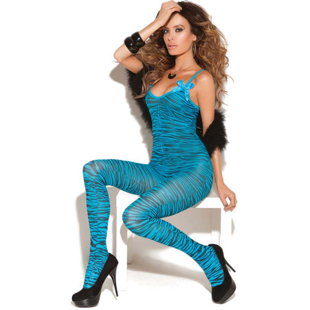 Vivace Bodystocking with Satin Bows Turquoise One Size - View #1