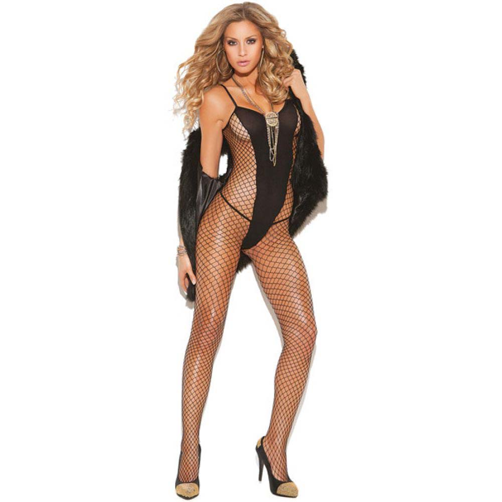 Vivace Diamond Net and Opaque Bodystocking Black One Size - View #1