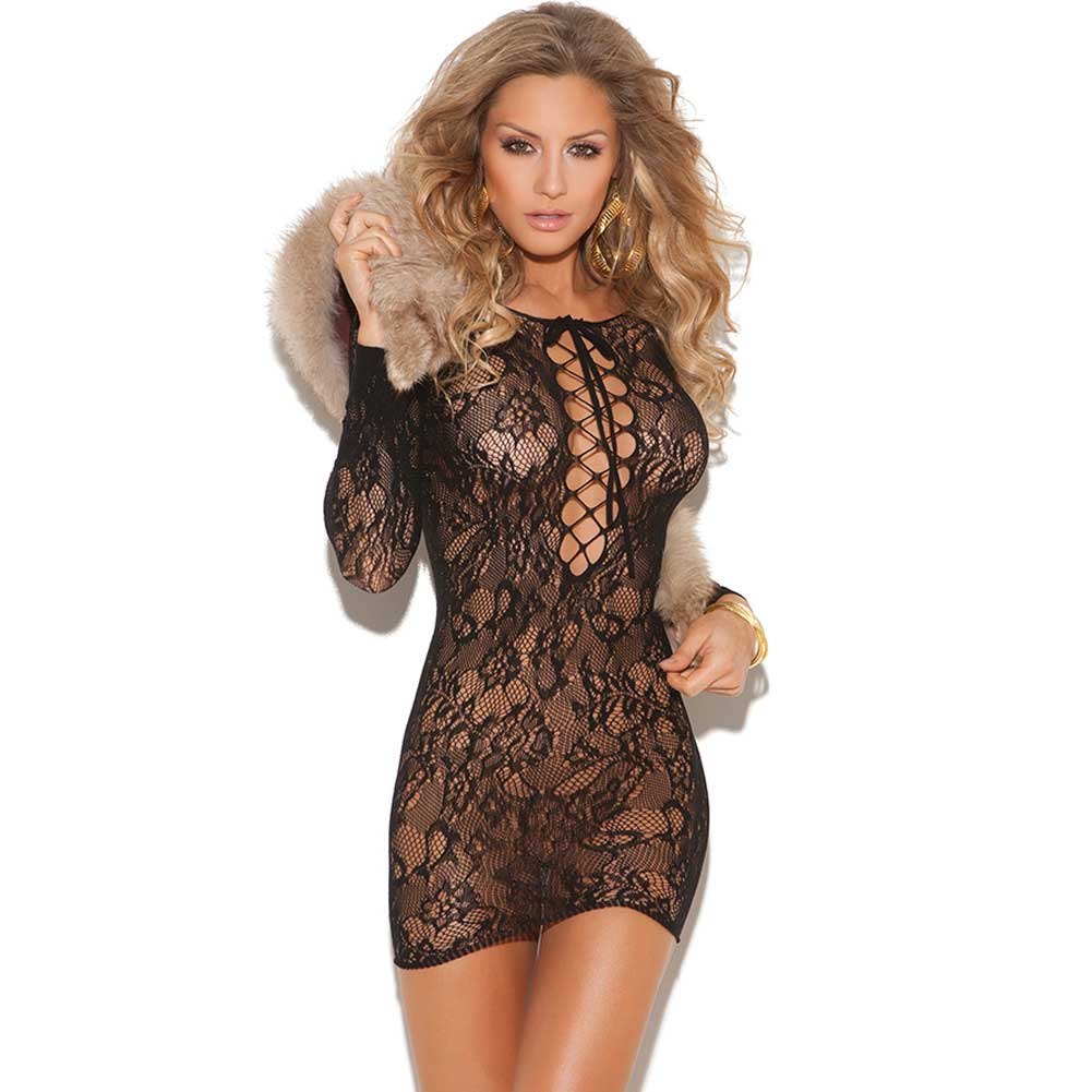 Vivace Long Sleeve Lace Mini Dress with Lace Up Front Black One Size - View #1