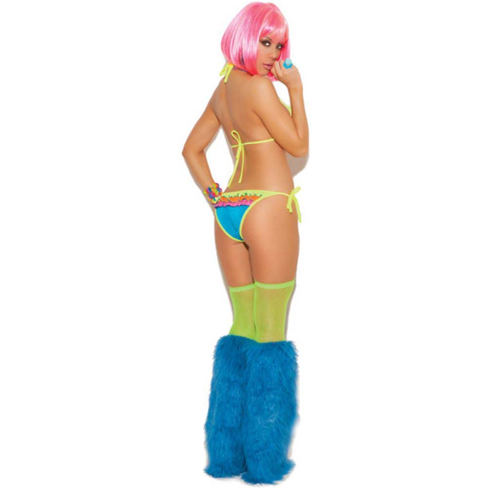 Neon Nites Lycra String Bra Top with Ruffle Trim and Tie Side Panty with Ruffle Trim Neon One Size - View #1