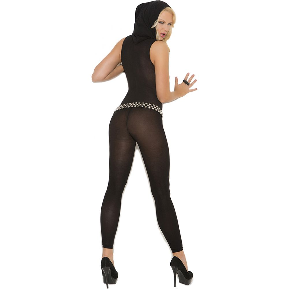 Vivace Opaque Footless Bodystocking with Hood Black One Size - View #2