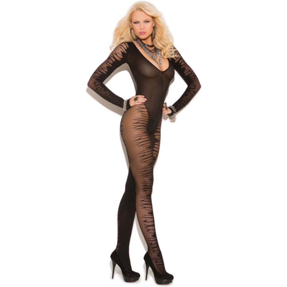 Vivace Fishnet Long Sleeve Sheer Jacquard Bodystocking Black One Size - View #1