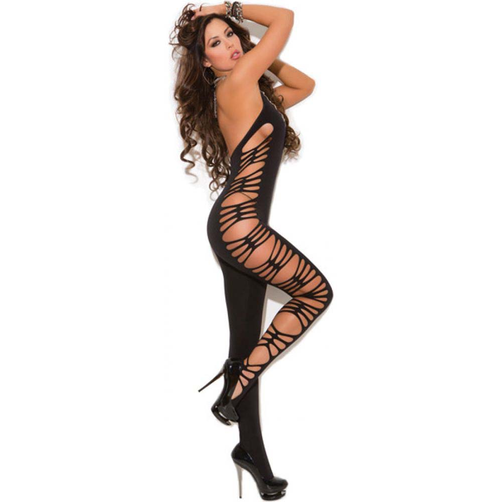 Vivace Deep V Opaque Bodystocking with Cut Out Side Detail Black One Size - View #2