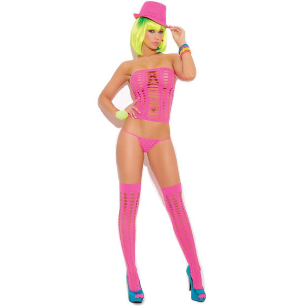 Vivace Pothole Bandeau Top with G-String and Matching Stockings One Size Neon Pink - View #1