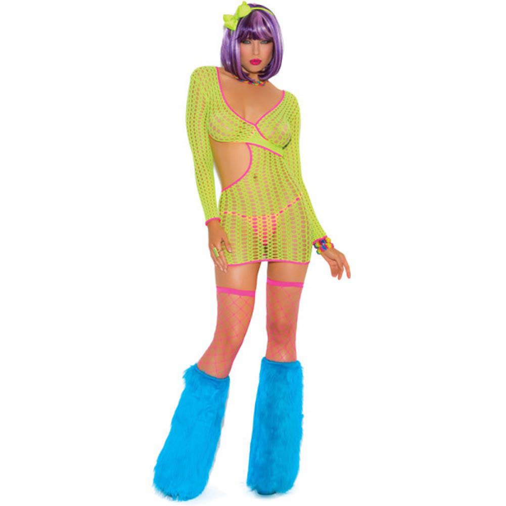 Neon Nites Crochet Long Sleeve Mini Dress with Cut Out Side Neon One Size - View #2