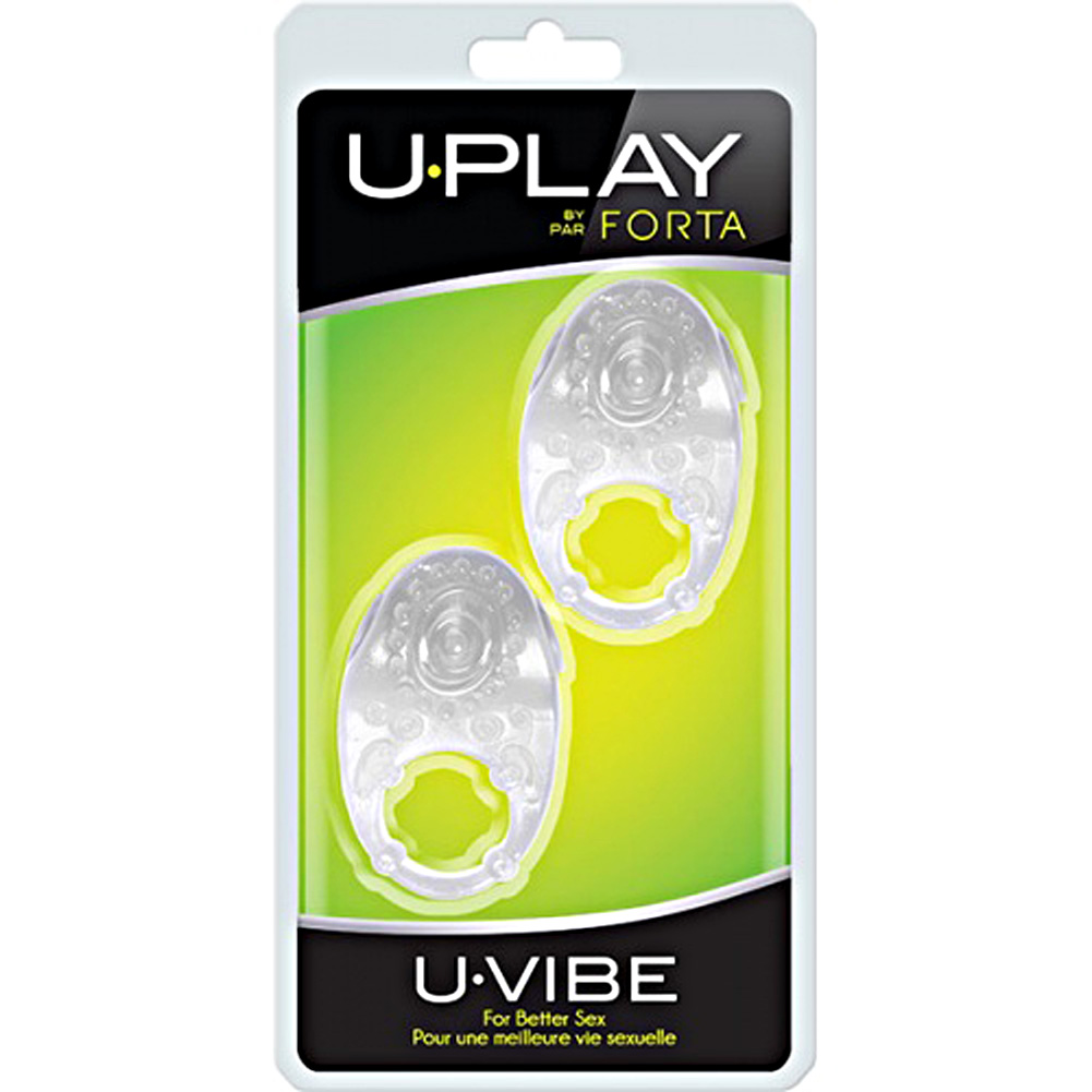 Vivo Uvibe U-Play Vibrating Cock Ring Clear Pack of 2 - View #1