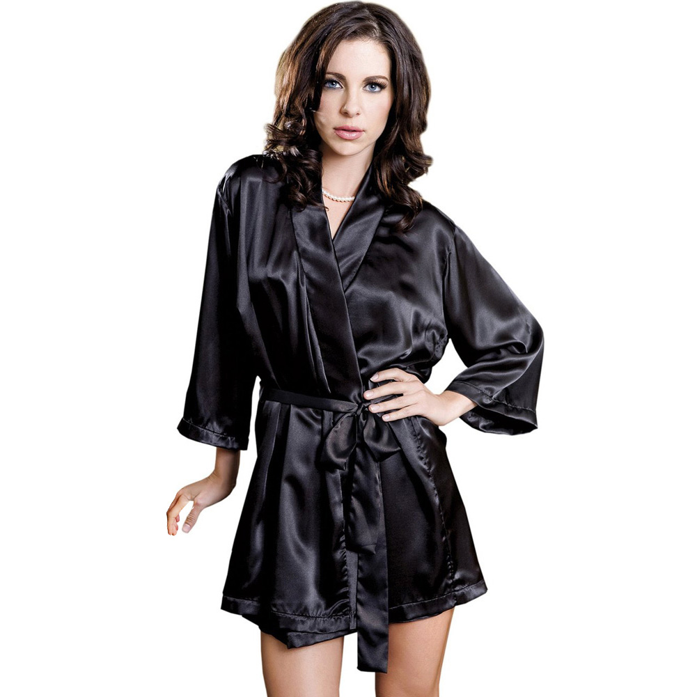 Satin 3/4 Sleeve Robe with Matching Sash Black Small Medium - View #1