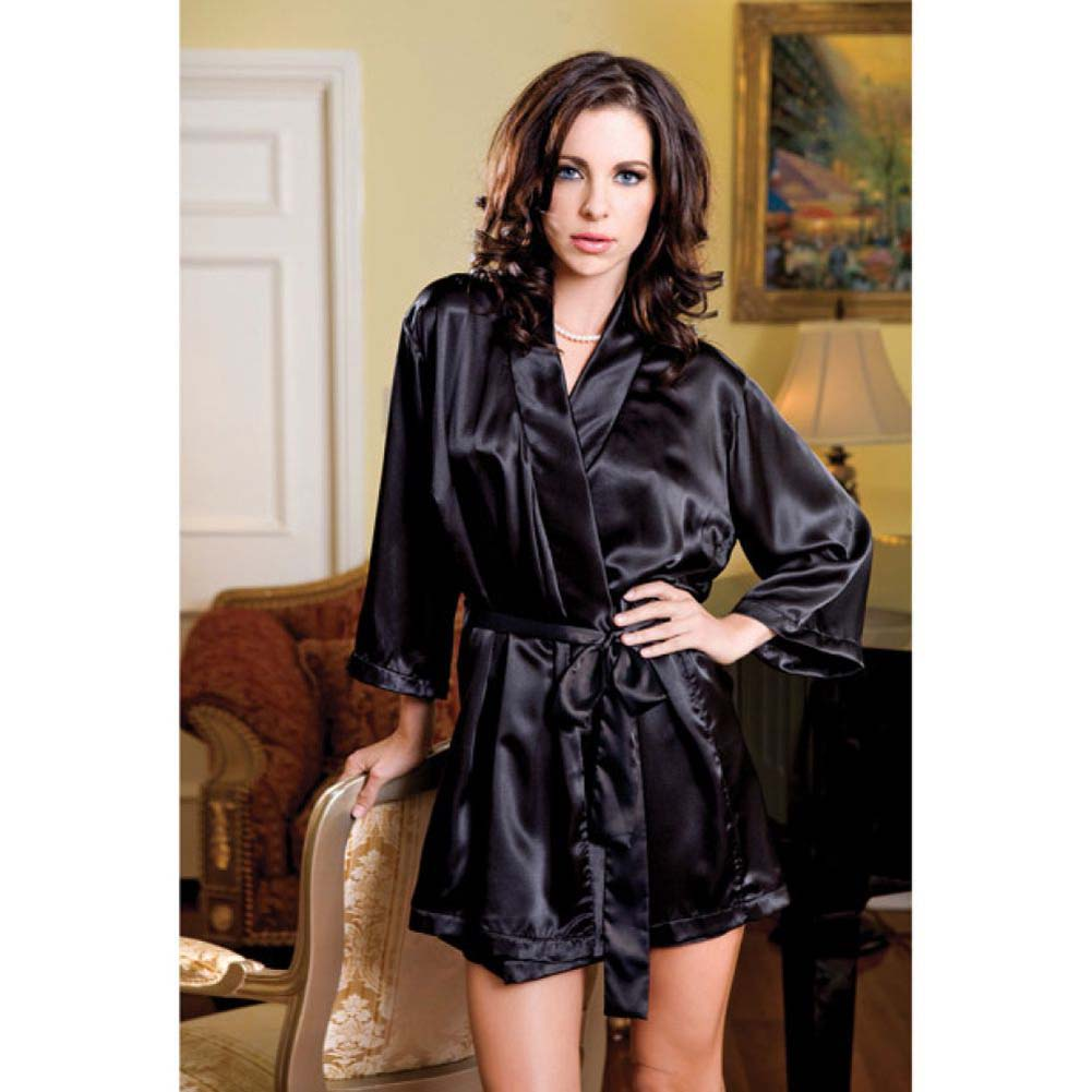 Satin 3/4 Sleeve Robe with Matching Sash Large/Extra Large Black - View #2
