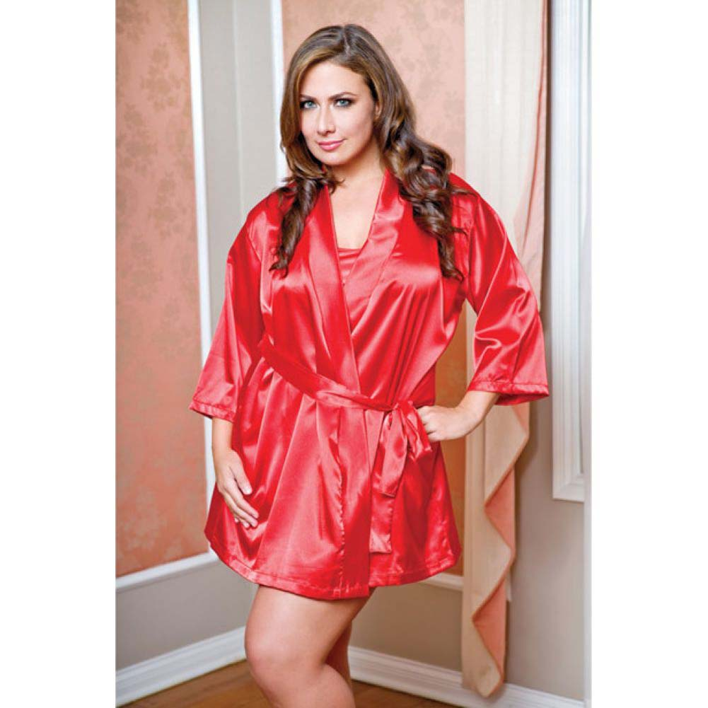 Satin 3/4 Sleeve Robe with Matching Sash Red 1X 2X - View #2