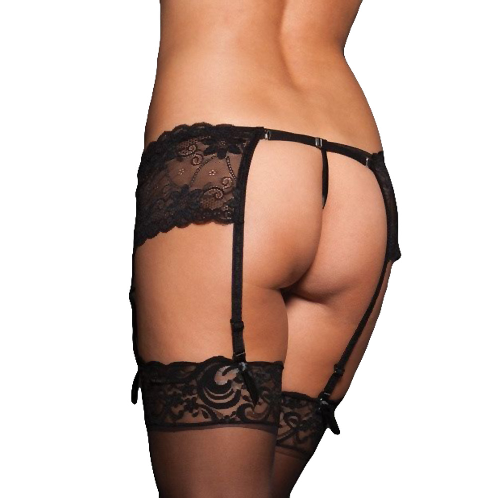 Lace Garter Belt with Adjustable Back Strap Black Queen - View #2
