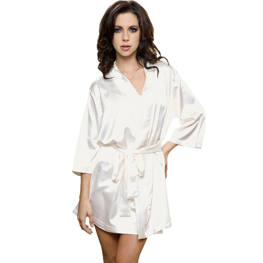 Satin 3/4 Sleeve Robe with Matching Sash White Small Medium - View #1