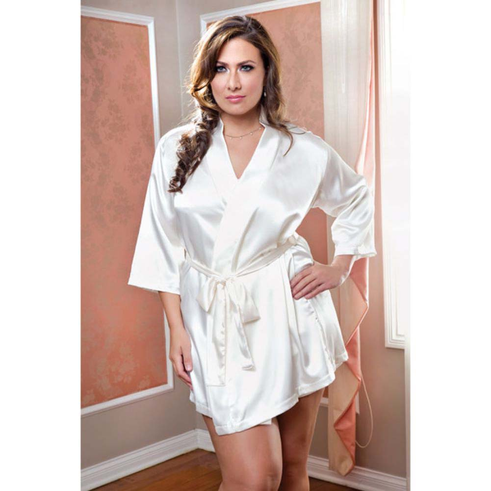Satin 3/4 Sleeve Robe with Matching Sash White 1X 2X - View #2