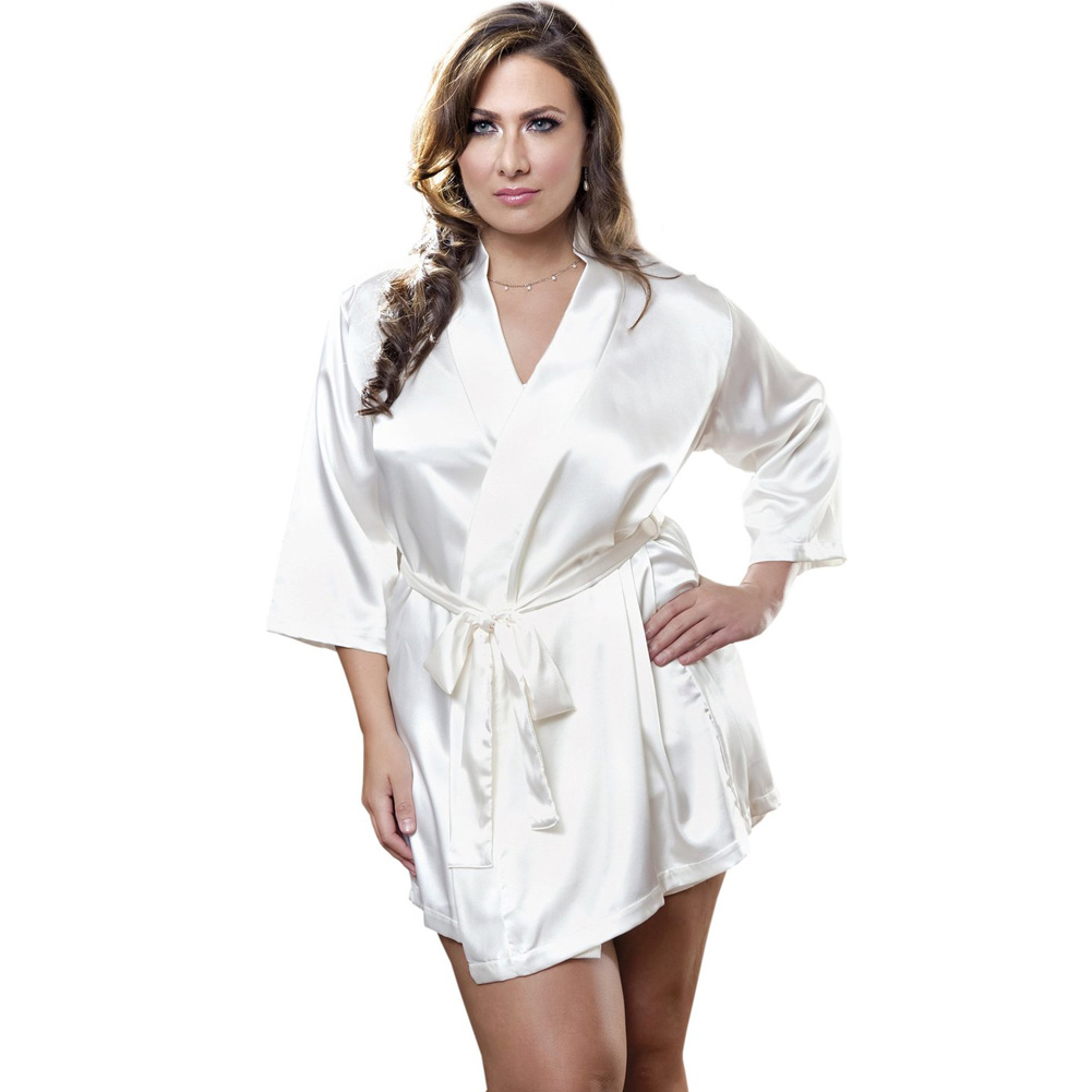 Satin 3/4 Sleeve Robe with Matching Sash White 3X 4X - View #1