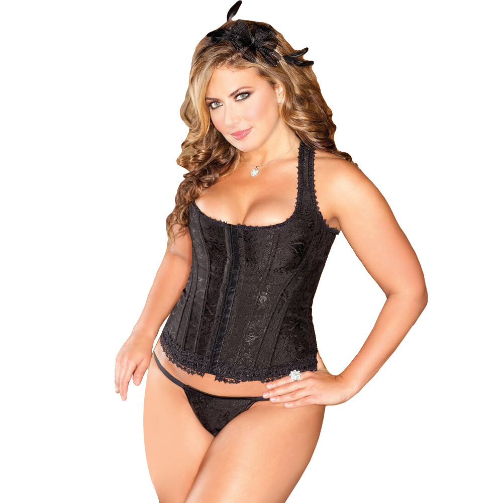 Brocade Racerback Corset and G-String Set Size 40 Black - View #1