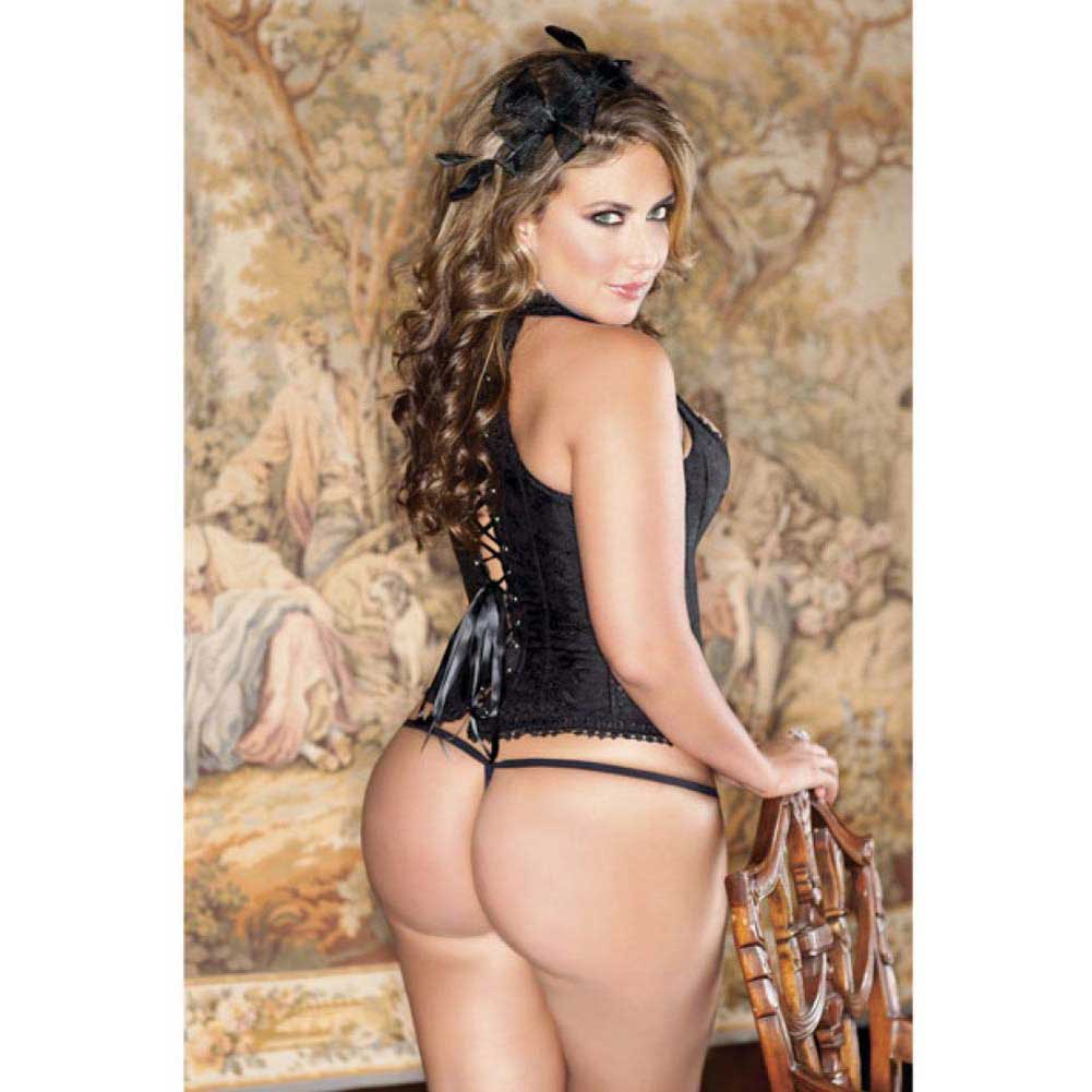 Brocade Racerback Corset and G-String Set Size 42 Black - View #4