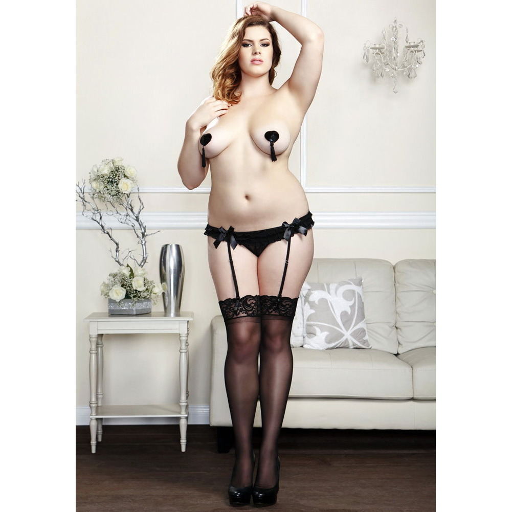 iCollection Lingerie Ruffled Mesh Garter Belt 1X/2X Plus Size Black - View #4