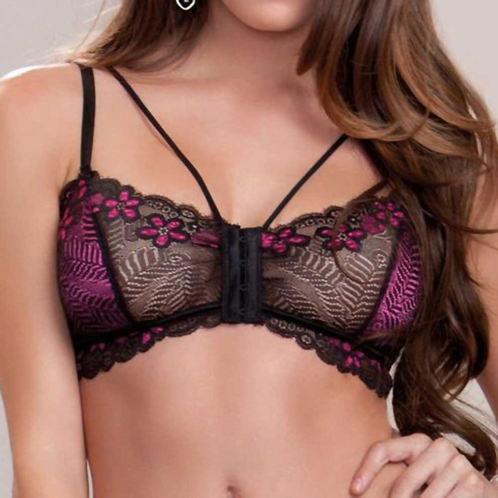 Floral Lace Mesh and Microfiber Bralette with Skirt and G-String Fuchsia Black Extra Large - View #3