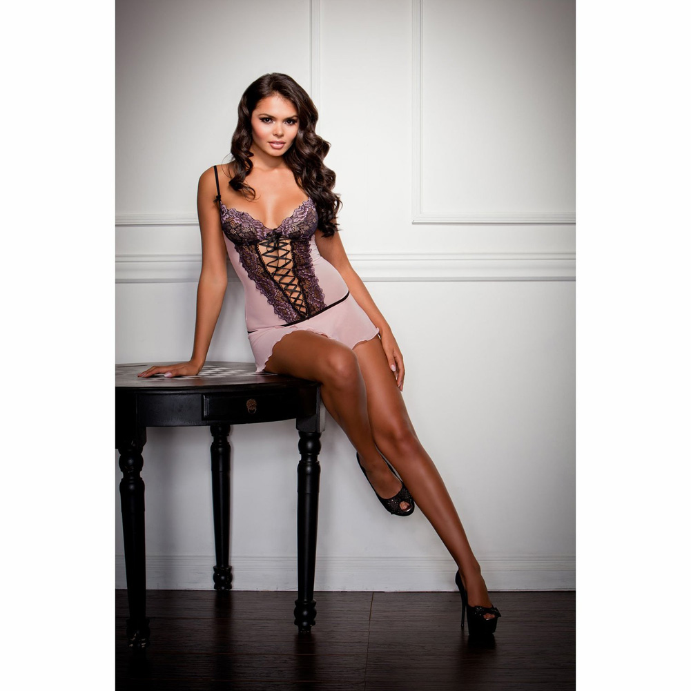 Cross Dye Lace and Flutter Hem Chemise and G-String Set Medium Lavender - View #3
