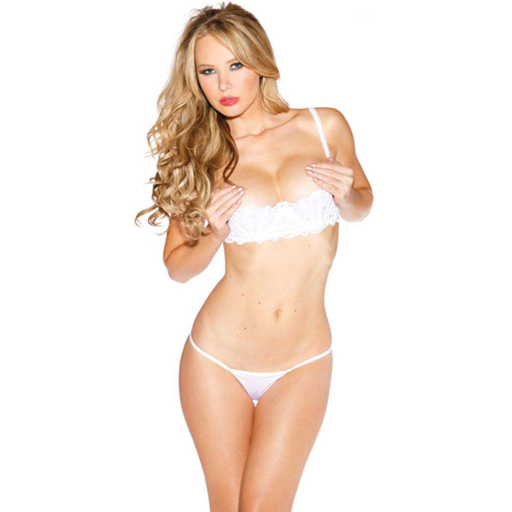 Chopper Bar Shelf Bra with Uplifting Cleavage Adjustable Straps and Back White 34 - View #1