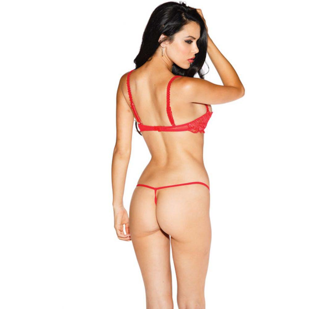 Chopper Bar Shelf Bra with Uplifting Cleavage Adjustable Straps and Back Red 44 - View #2