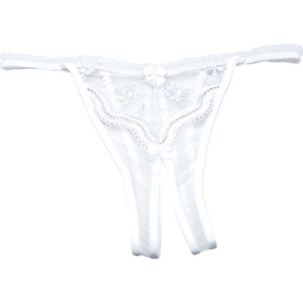 Scalloped Embroidery Crotchless Panty White One Size - View #2