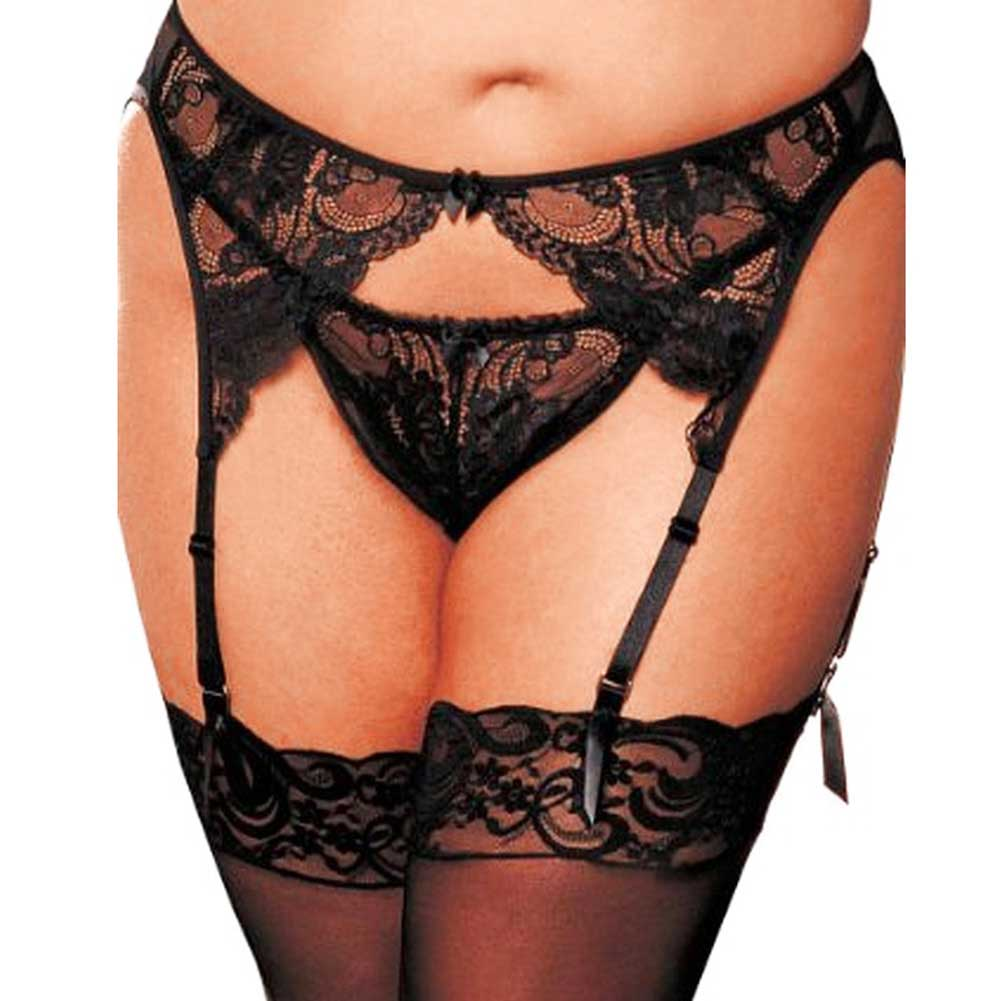 Shirley of Hollywood Stretchy Lace Mesh Garter Belt 3X/4X Classic Black - View #1
