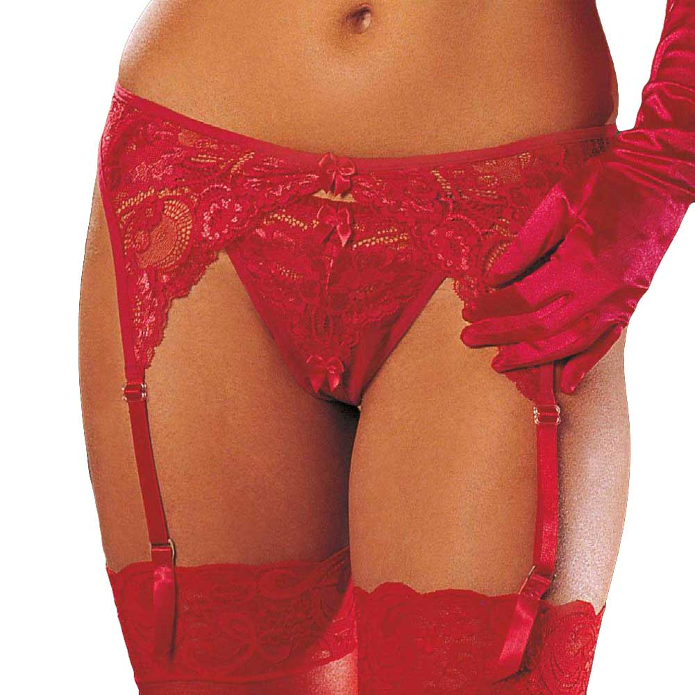Lace and Stretch Mesh Garterbelt Cherry Red One Size - View #1