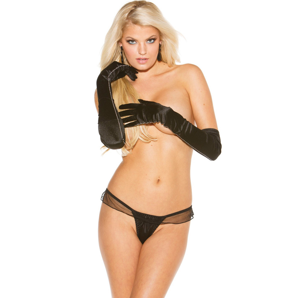 Charmeuse and Mesh Big Bow Thong Black Extra Large - View #2