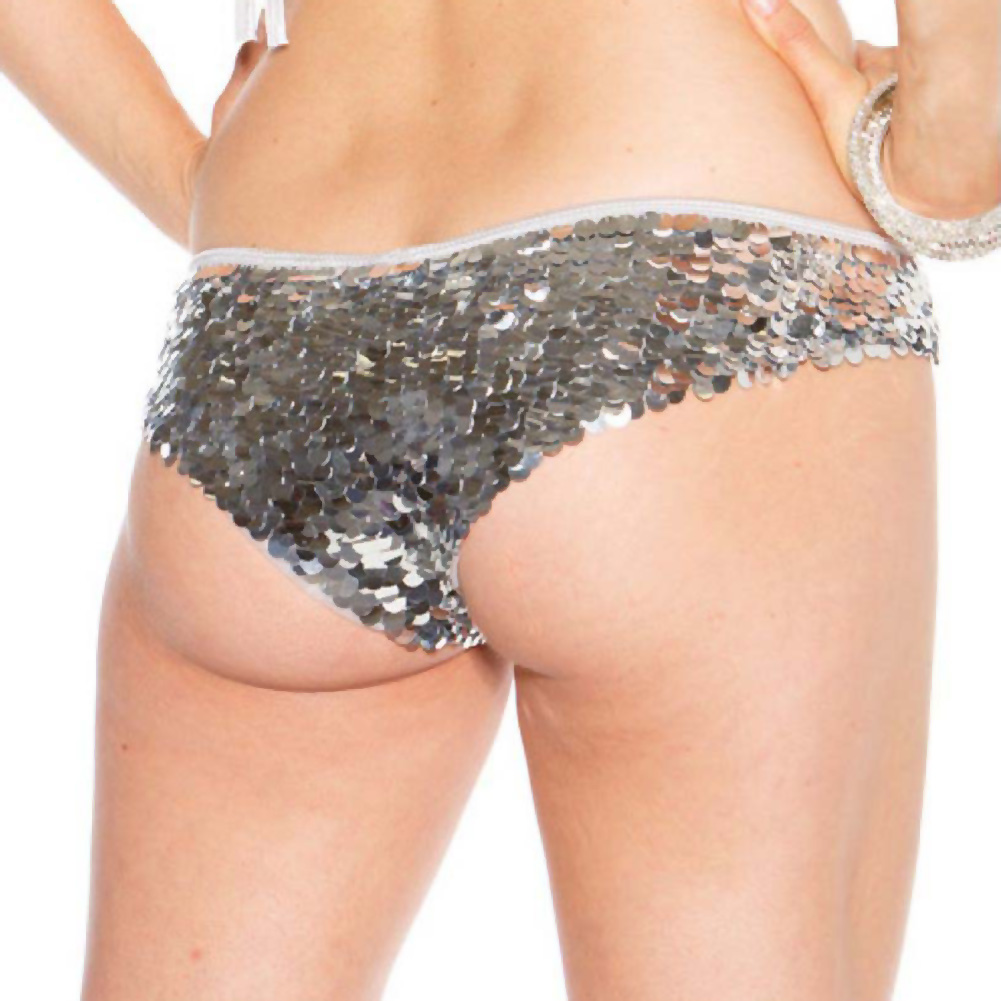 All Over Sequin Booty Shorts Silver Extra Small - View #2