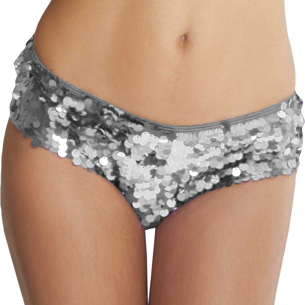 All Over Sequin Booty Shorts Silver Small Medium - View #1