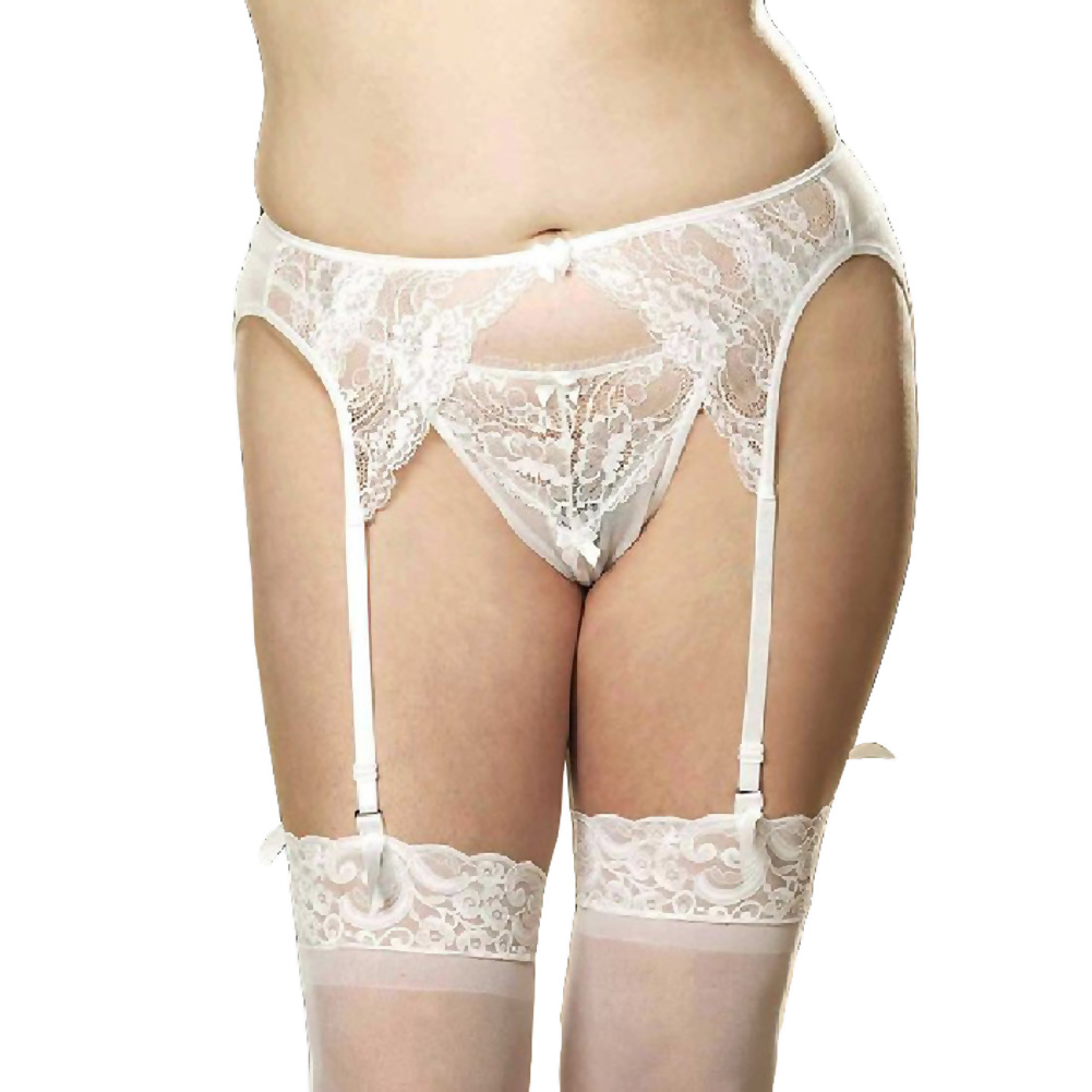 Shirley of Hollywood Stretchy Lace Mesh Garter Belt 3X/4X Wedding White - View #1