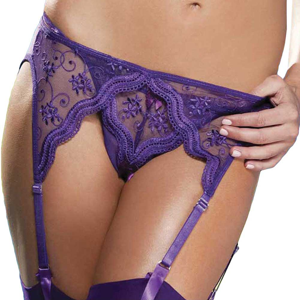 Scalloped Embroidery Garterbelt with Adjustable Front and Back Garters Purple 3X 4X - View #1