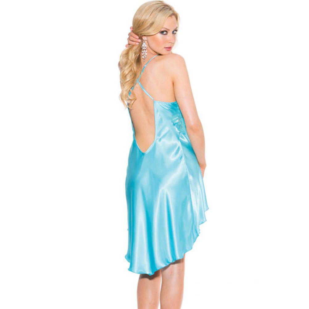 Charmeuse and Lace Chemise with Criss Cross Straps Medium Turquoise - View #2