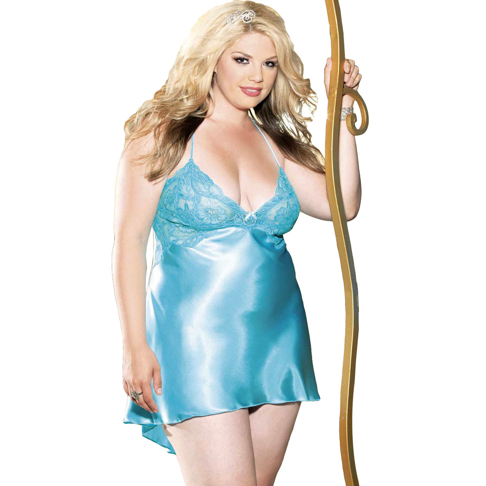 Charmeuse and Lace Chemise with Criss Cross Straps Plus Size 2X Turquoise - View #1