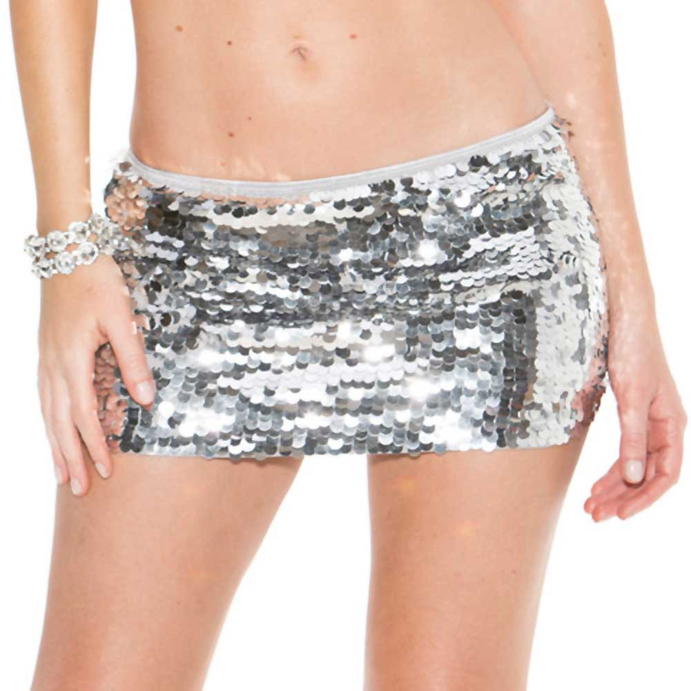 All Over Hand Sewn Sequin Skirt Silver Extra Small Small - View #1