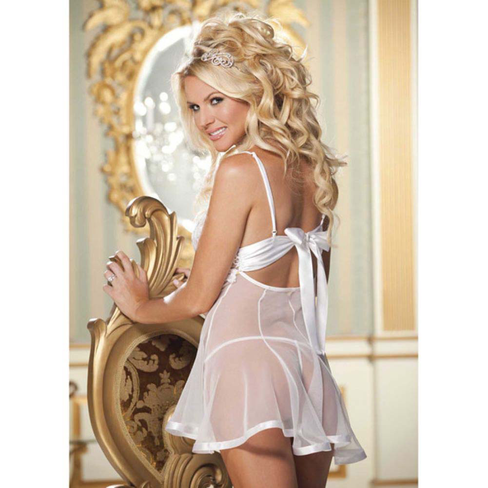 Lace and Net Babydoll and G-String Set Small White - View #4