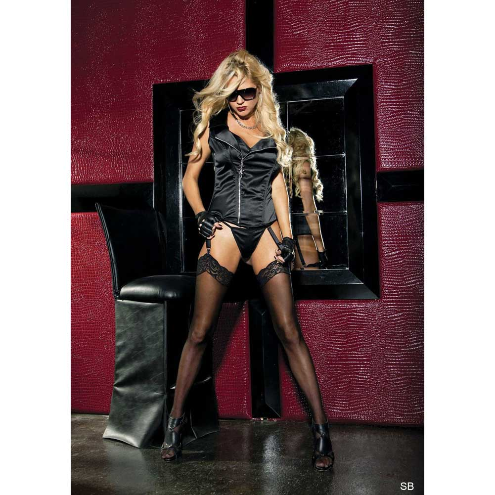 Stretch Satin Zipper Front Corset with Removable Garters and G-String Black 32 - View #3