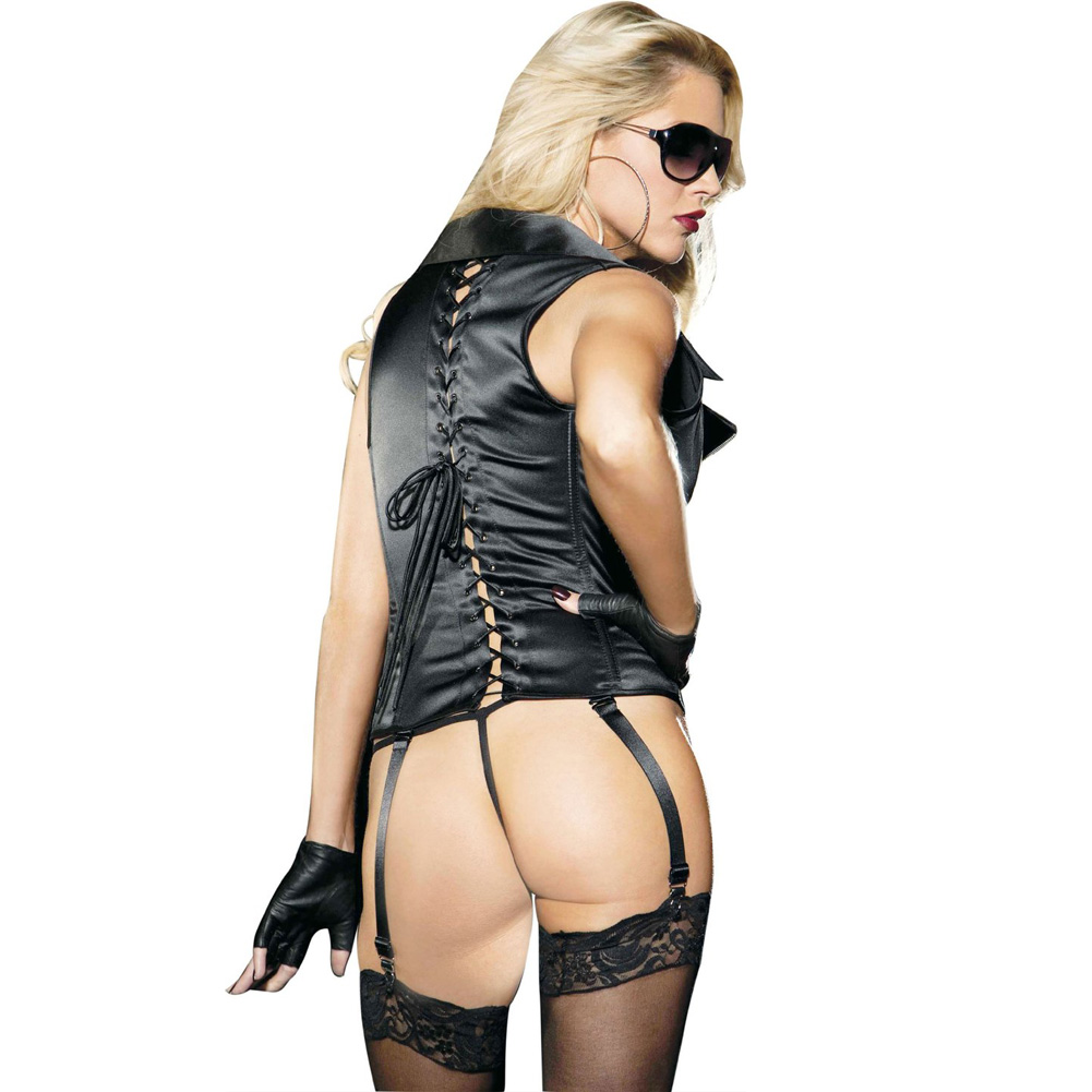 Stretch Satin Zipper Front Corset with Removable Garters and G-String Black 38 - View #2