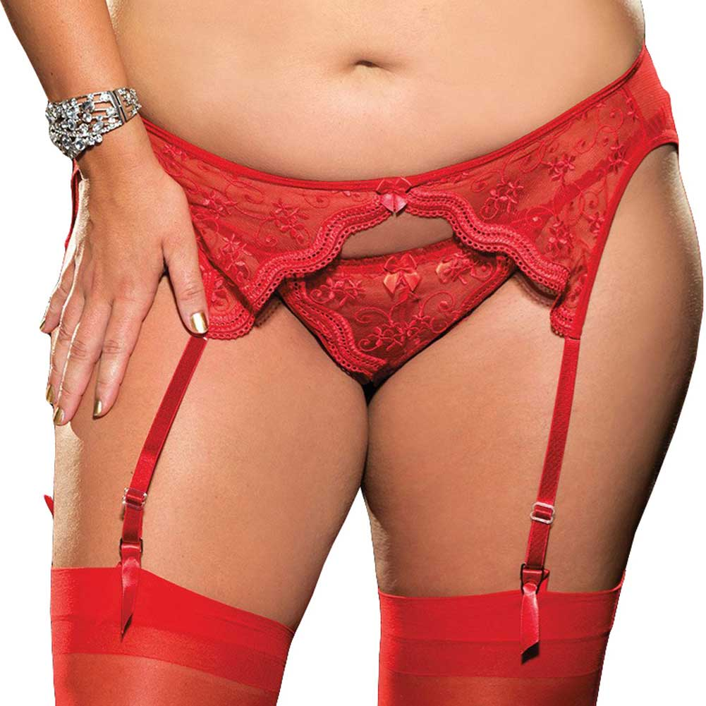 Scalloped Embroidery Garterbelt with Adjustable Front and Back Garters Red 1X 2X - View #1
