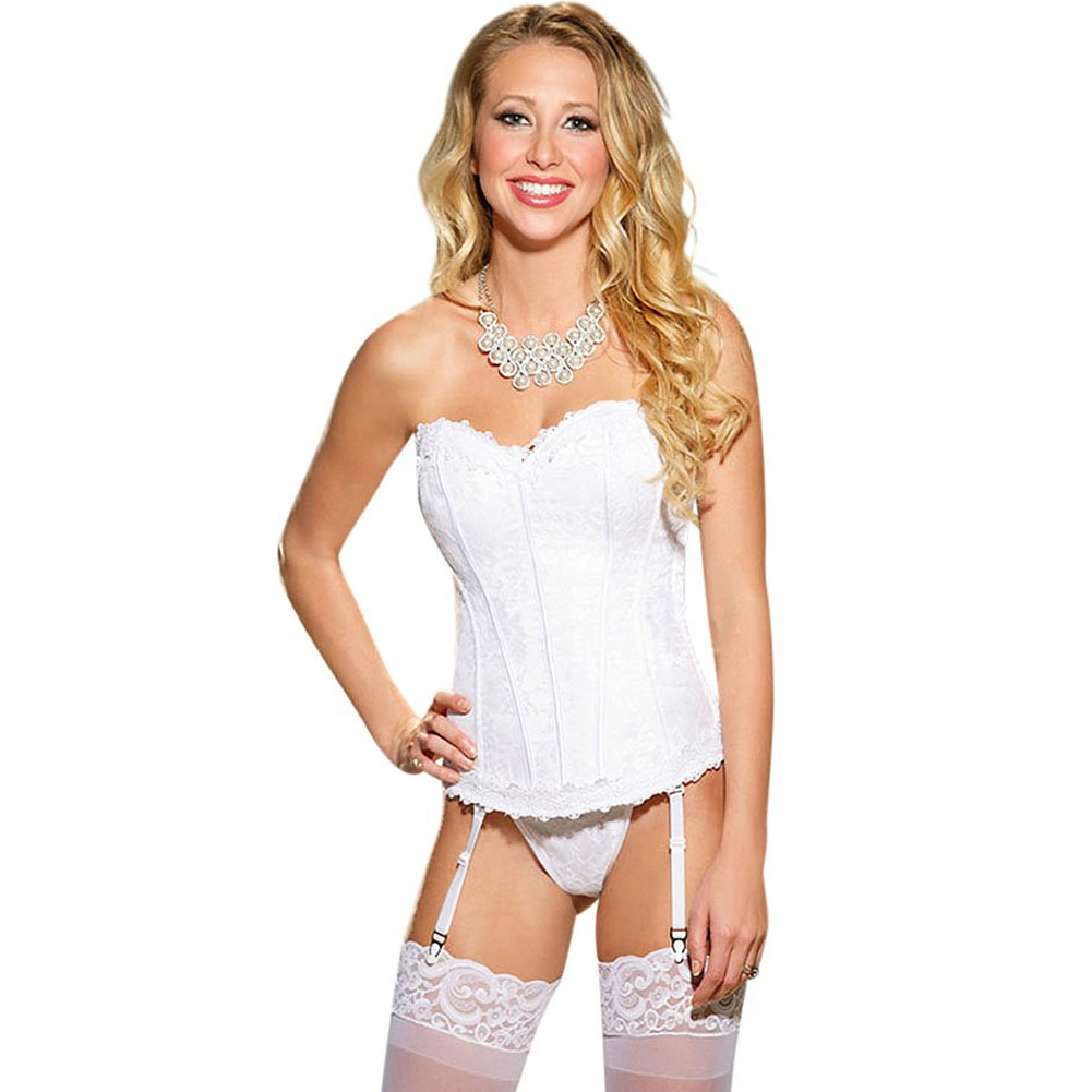 Elegant Venice Lace Trim Embroidered Satin Corset with Garters and G-String Size 36 White - View #1