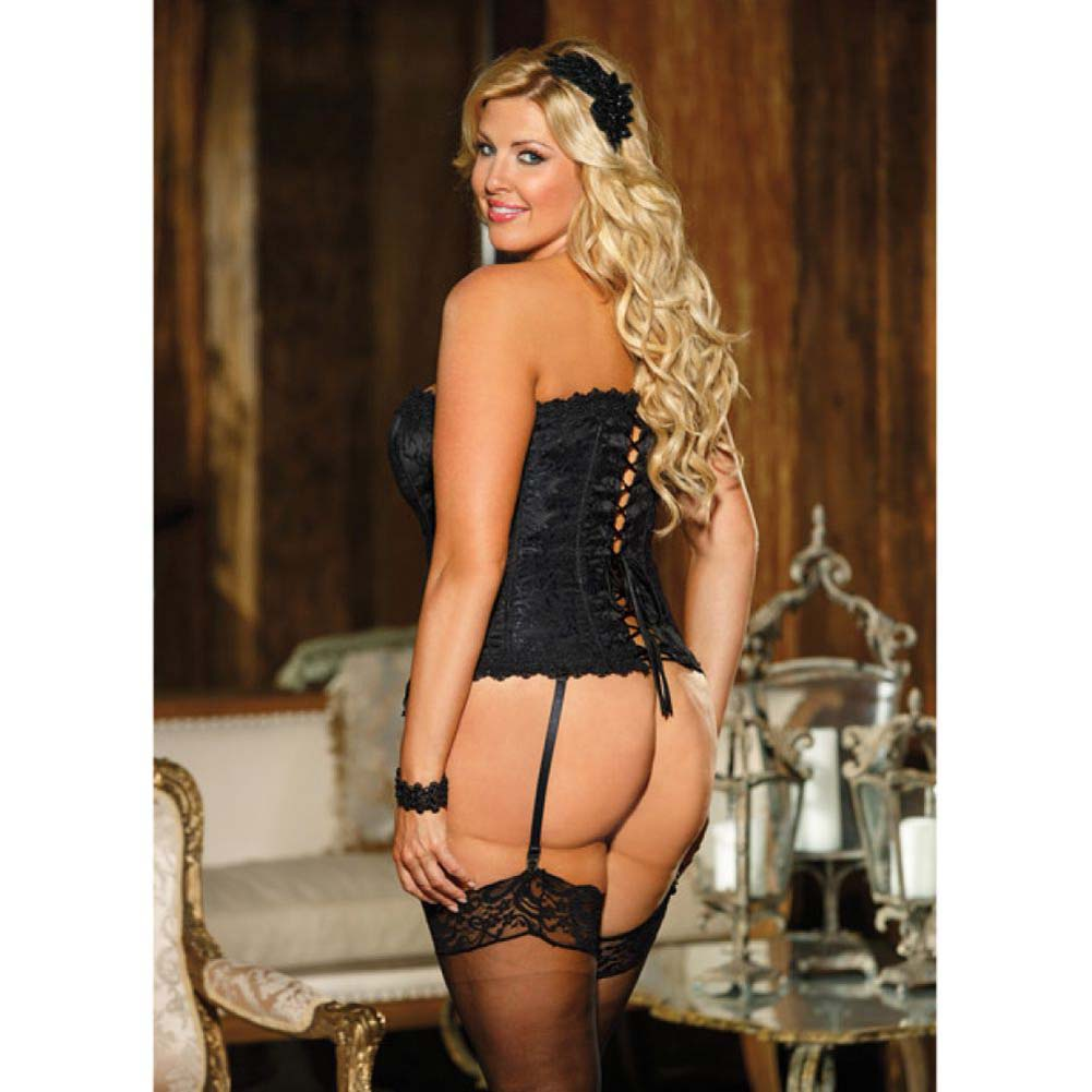 Elegant Venice Lace Trim Embroidered Satin Corset with Garters and G-String Size 40 Black - View #4