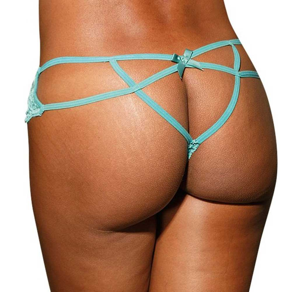 Stretch Lace Strappy Back Thong Panty Extra Large Spearmint - View #1