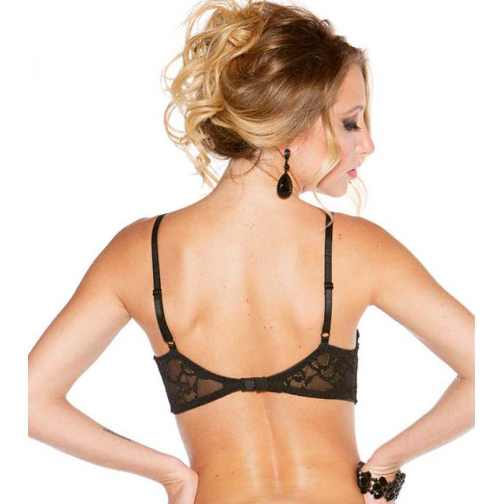 Shirley of Hollywood Stretch Lace Shelf Bra with Wired Demi Cup Size 36 Black - View #2