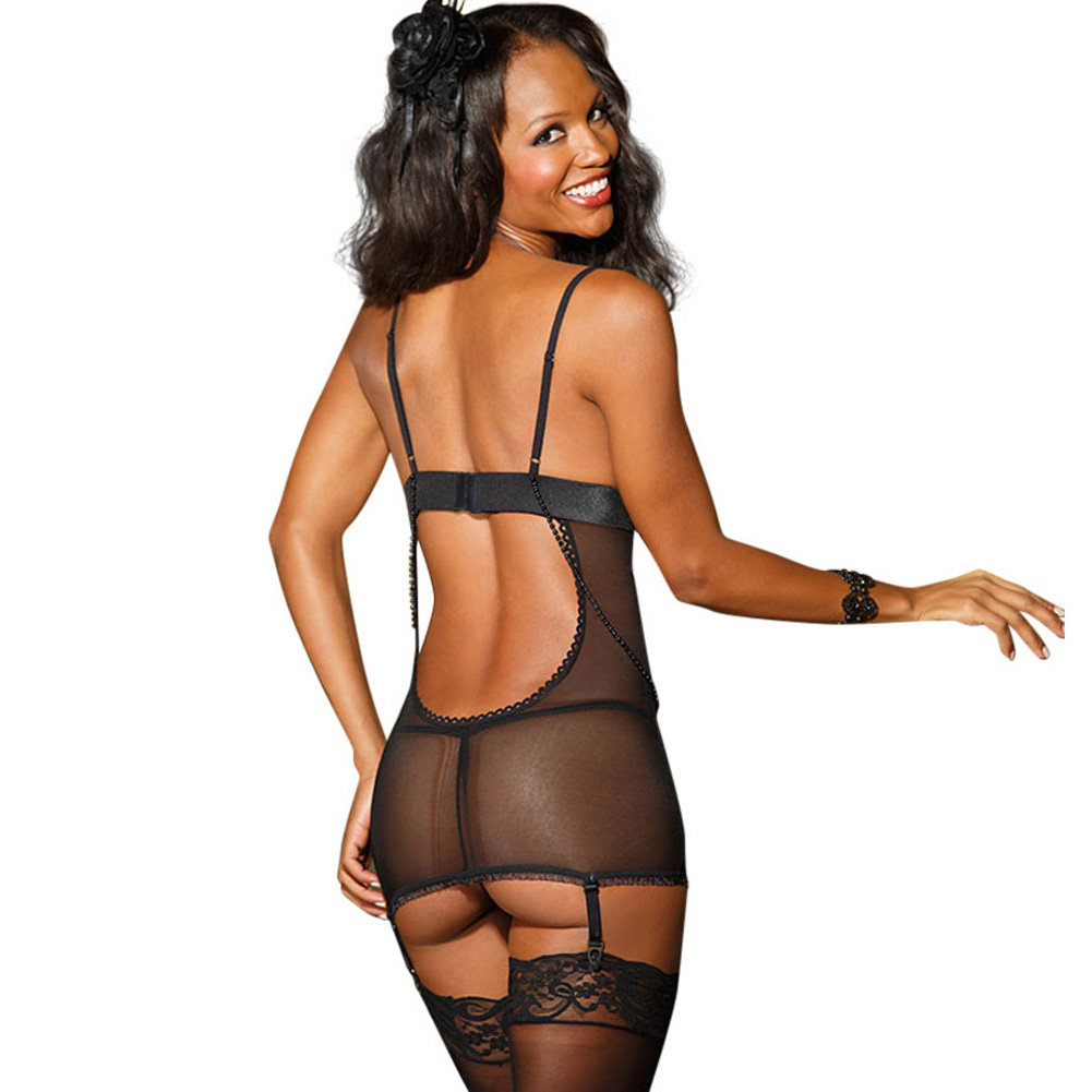 Stretch Lace and Mesh Chemise with Adjustable Straps and Garters and G-String Black Small - View #2