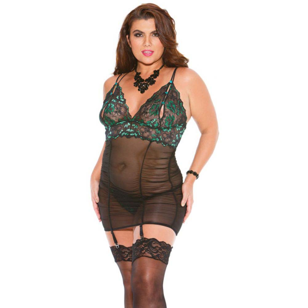 Two Tone Lace Gartered Chemise Rusch Bodice with Adjustable Garters and G-String Emerald Black 3X - View #1