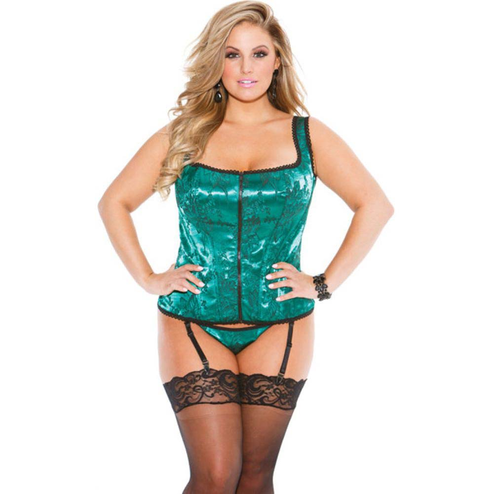 Tapestry Corset with Garters and G-String Size 40 Emerald - View #1