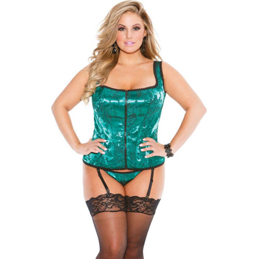 Tapestry Corset with Garters and G-String Size 42 Emerald - View #1