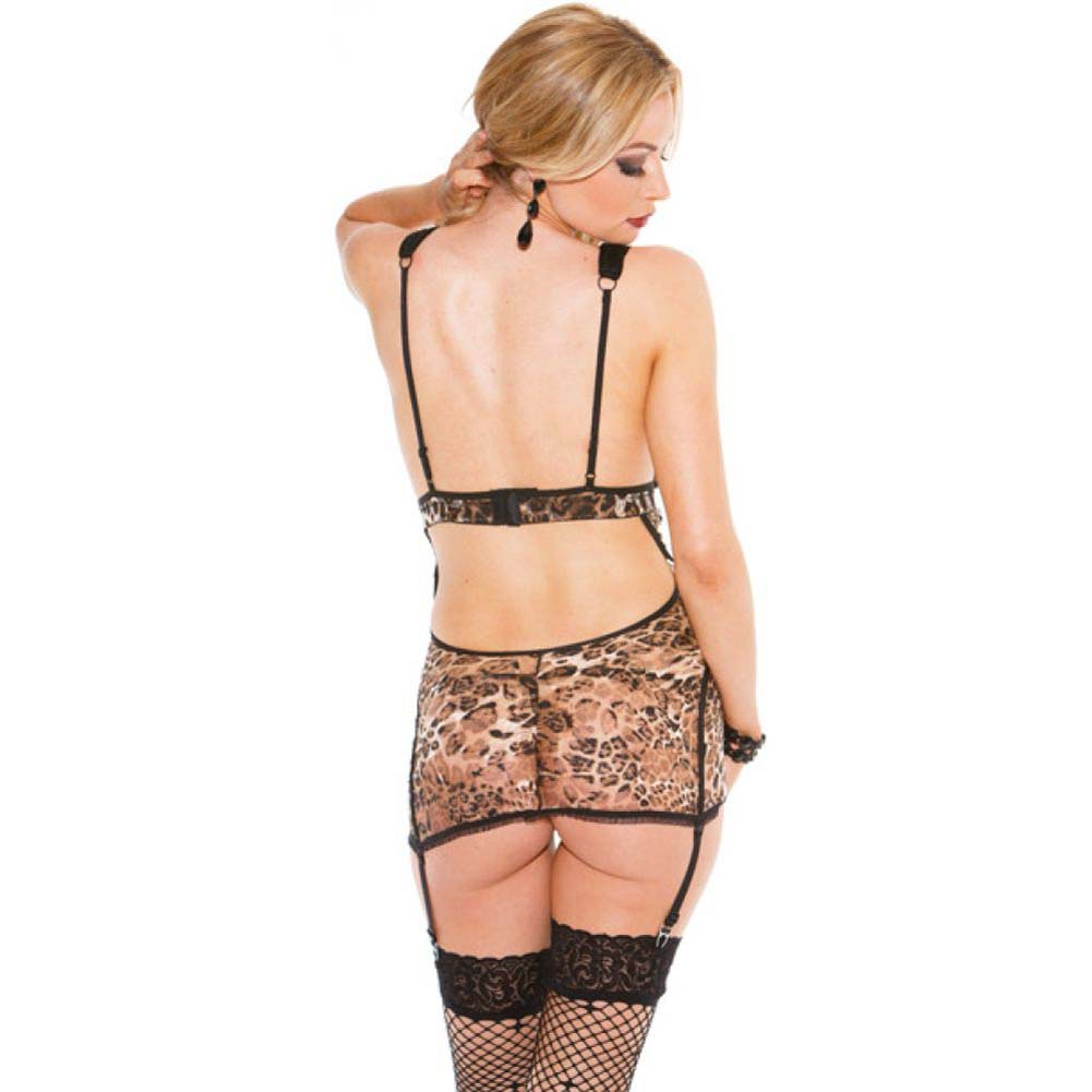 Stretch Lace Gartered Chemise with Sheer Cups Adjustable Straps and Garters And.. - View #2