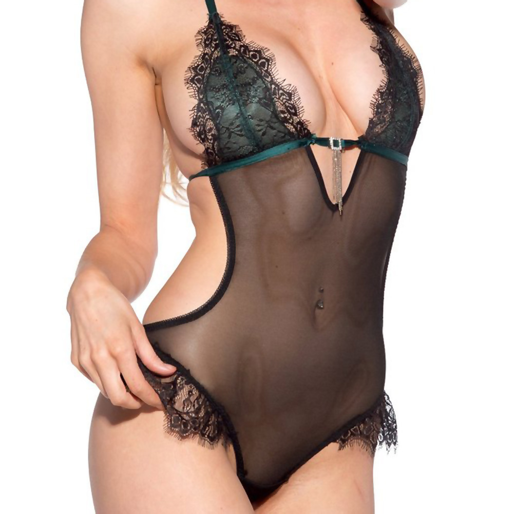 Lace Overlay Teddy Black Green Extra Large - View #3