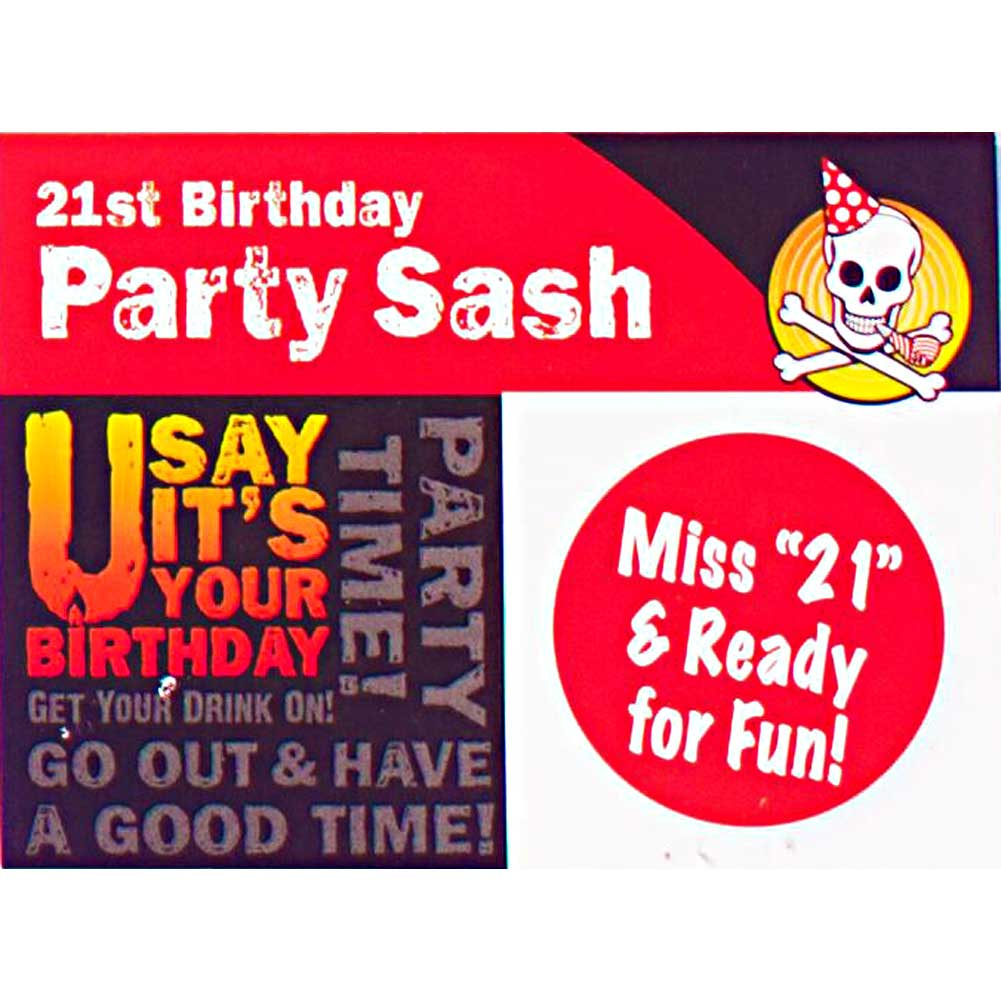 Miss 21 And Ready For Fun Party Sash - View #1